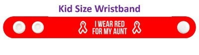 i wear red for my aunt aids hiv ribbon awareness wristband