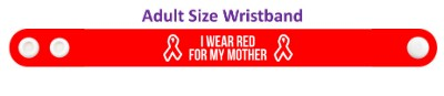 i wear red for my mother hiv awareness aids wristband