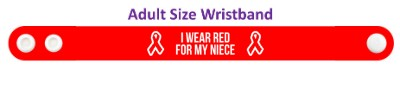 i wear red for my niece aids hiv awareness wristband