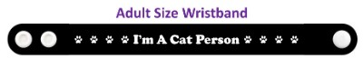 im a cat person paw prints black wristband