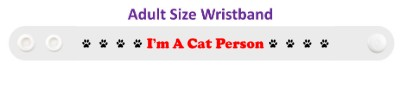im a cat person white paw prints wristband