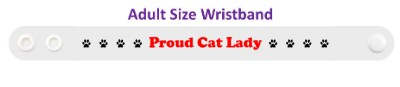proud cat lady paw prints white wristband