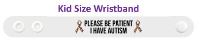 puzzle awareness ribbon white please be patient i have autism wristband
