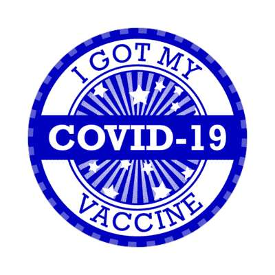 star burst blue i got my covid 19 vaccine stickers, magnet