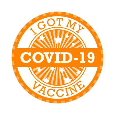 star burst i got my covid 19 vaccine orange stickers, magnet