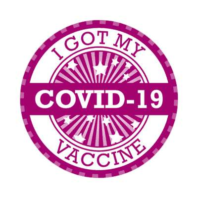 star burst purple i got my covid 19 vaccine nurse medical center stickers, magnet