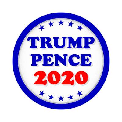 trump pence 2020 blue border stars sticker
