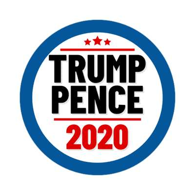 trump pence 2020 blue border sticker