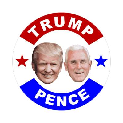 trump pence 2020 faces red white blue stars sticker