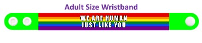 we are human just like you green lgbt rainbow wristband