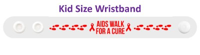 white aids walk for a cure awareness footsteps wristband