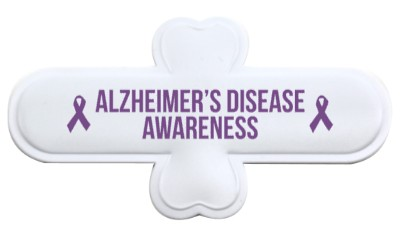 white alzheimers disease awareness purple awareness ribbon stickers, magnet