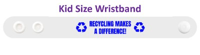 white recycling makes a difference symbols wristband