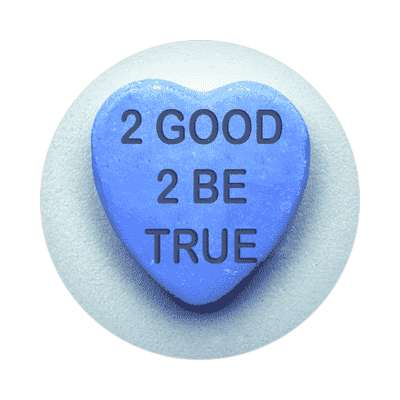 2 good 2 be true blue valentines day heart candy sticker