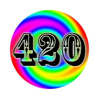 420 swirl rainbow sticker