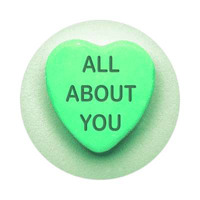 all about you valentines day heart candy sticker