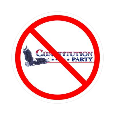 anti constitution party red slash eagle logo sticker