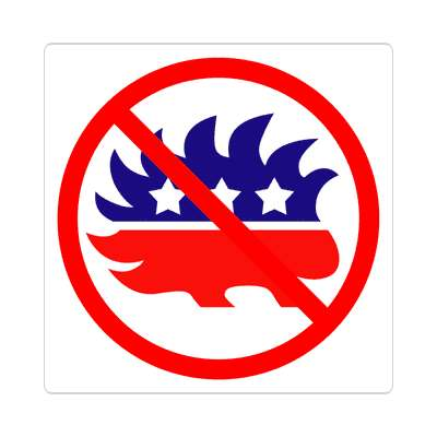 anti libertarian porcupine party red slash sticker