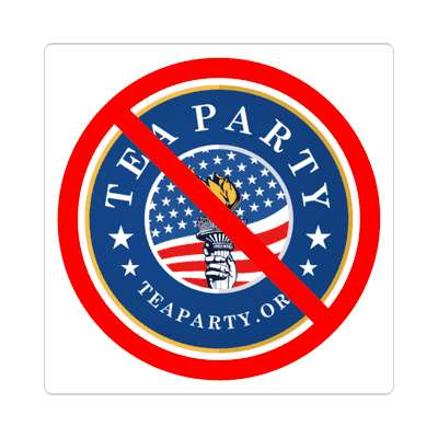 anti tea party blue logo red slash sticker