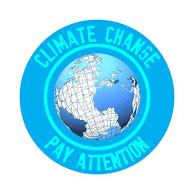 aqua globe climate change pay attention sticker