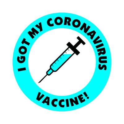 aqua i got my coronavirus vaccine needle stickers, magnet