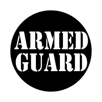armed guard tall stencil black sticker