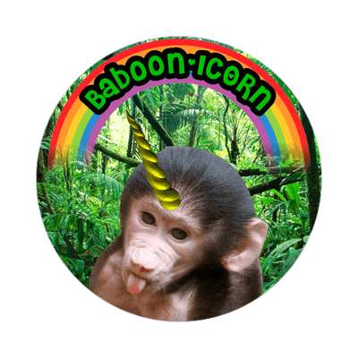 baboonicorn wordplay cute sticker