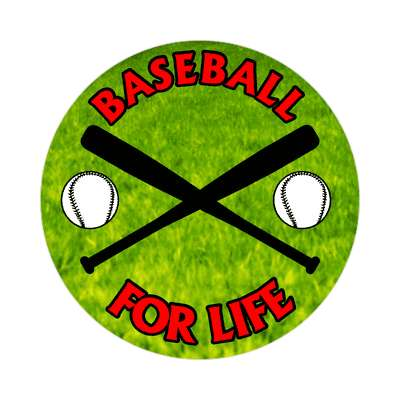 baseball for life crossed bats sticker