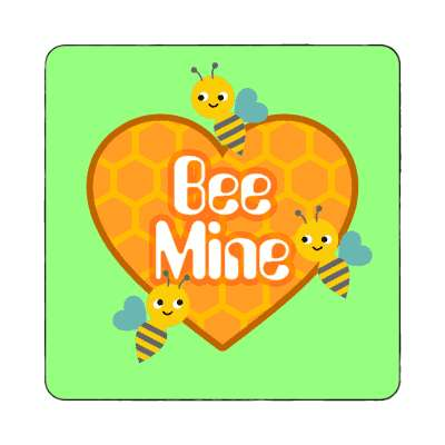 bee mine bright green magnet