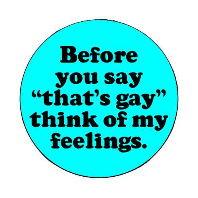 before you say thats gay think of my feelings magnet
