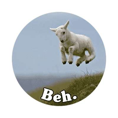 beh lamb jumping funny sticker