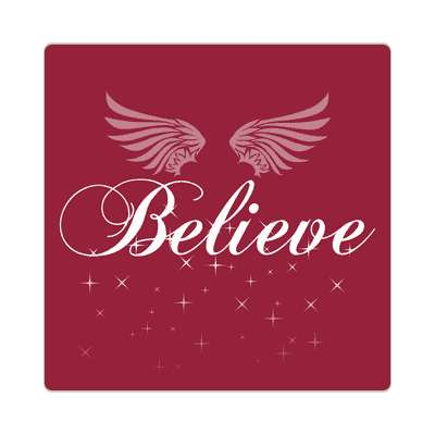 believe red sparkles wings silhouette sticker