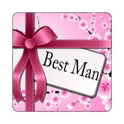 best man pink ribbon card magnet
