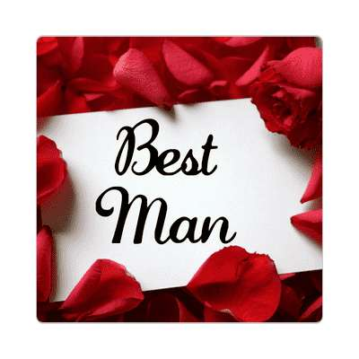 best man red petals card sticker