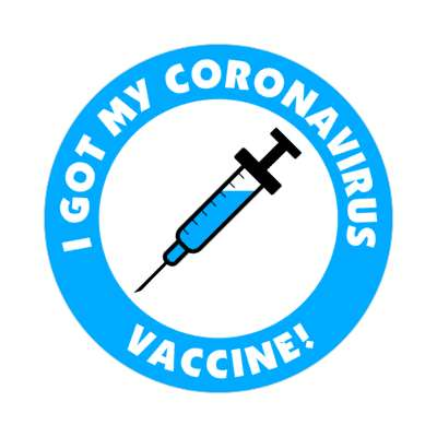 blue i got my coronavirus vaccine needle stickers, magnet