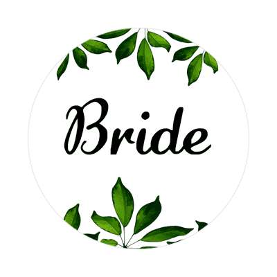 bride green leaves border sticker