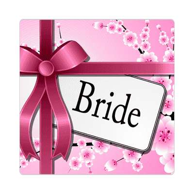 bride pink ribbon card sticker
