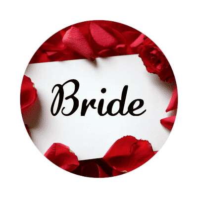bride red petals card sticker