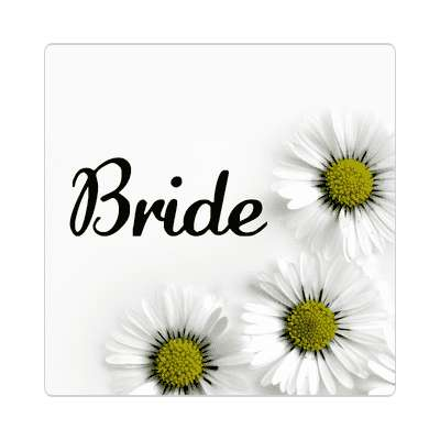 bride three yellow white flowers sticker