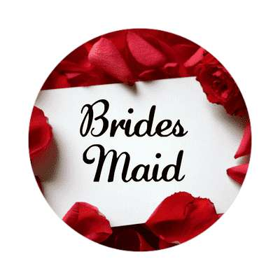 bridesmaid red petals card sticker
