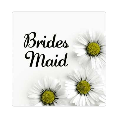 bridesmaid three yellow white flowers sticker