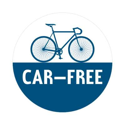car free silhouette bicycle sticker