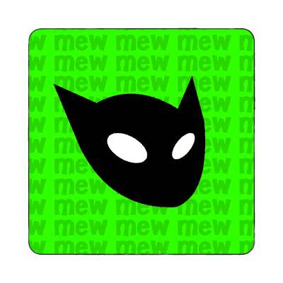cat head mew green magnet