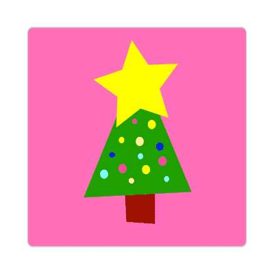 christmas tree hot pink star decorations sticker