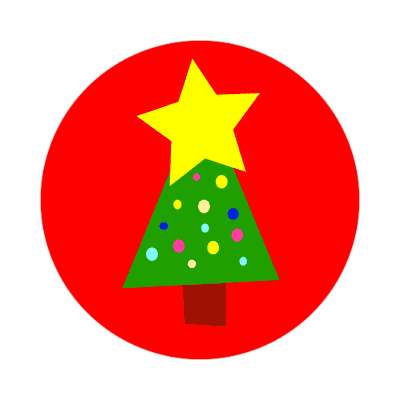 christmas tree red star sticker