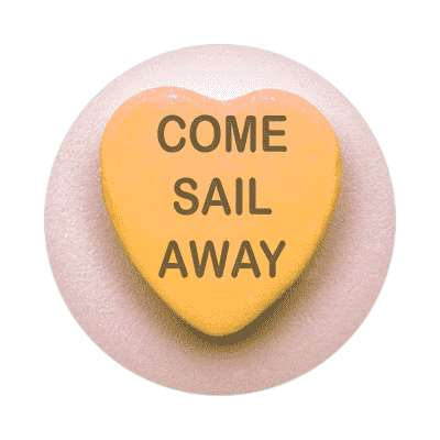 come sail away valentines day heart candy sticker
