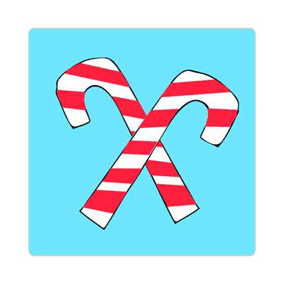 crossed candy canes blue sticker