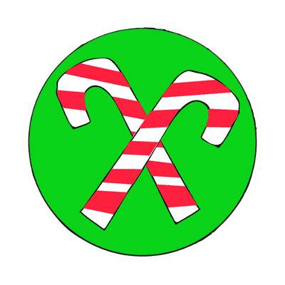 crossed candy canes green magnet
