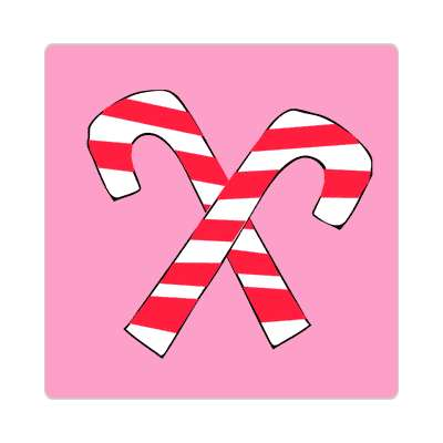 crossed candy canes pink sticker
