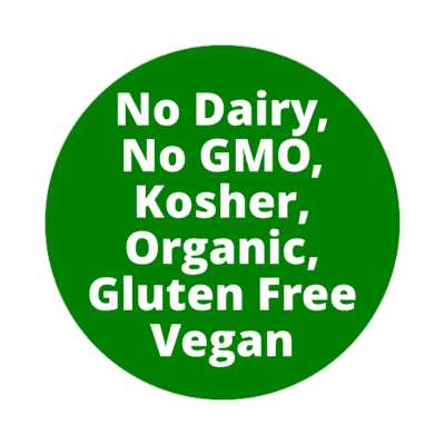 dark green no dairy no gmo kosher organic gluten free vegan sticker